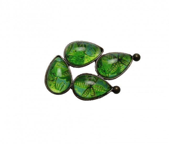 帯留め 緑 ユリ