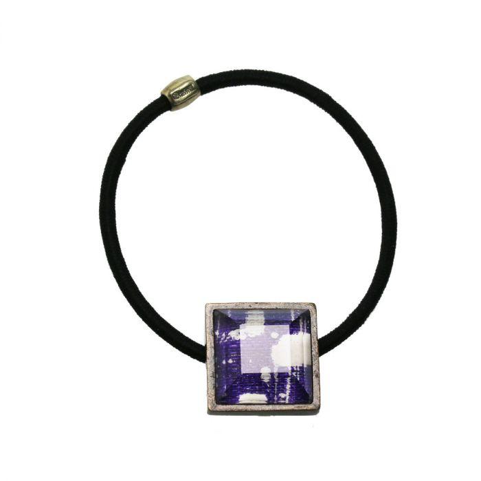紫の四角いヘアゴム