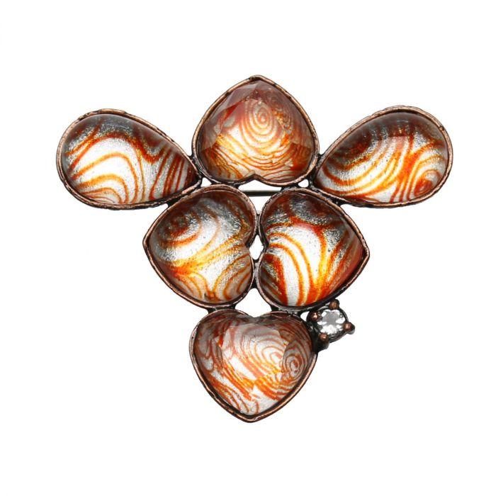 オレンジのうずまき柄ブローチ